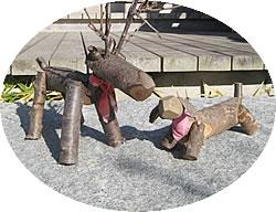 弥彦犬と弥彦鹿