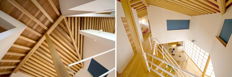 上り梁と垂木構造